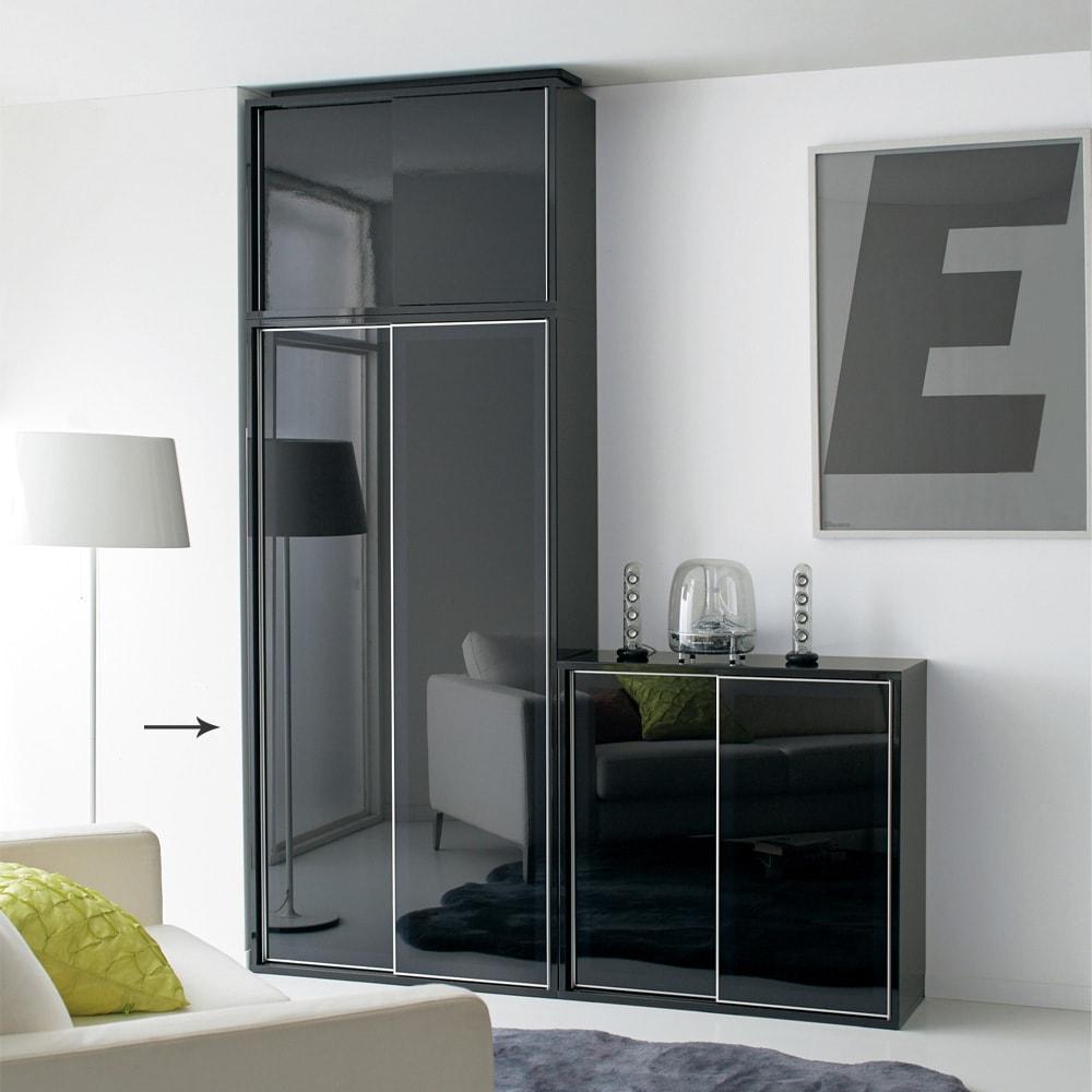 Evan(エヴァン) スライドシェルフ ハイタイプ本棚 幅90cm ブラック クールな印象のブラックは、モノトーンスタイルにもおすすめです。