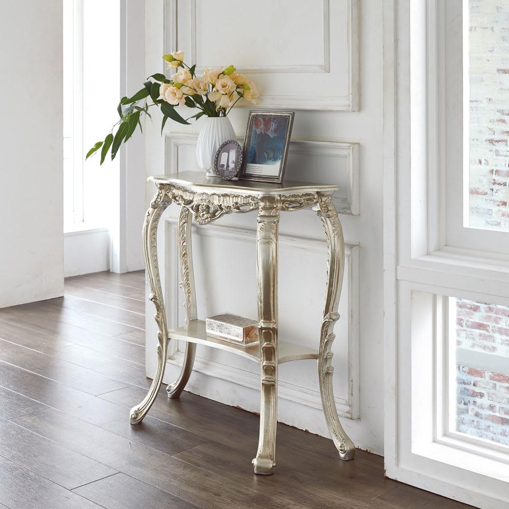 イタリア製コンソールテーブル (イ)シルバー リビングや玄関に花台として置けば華やかな海外風インテリアが完成します