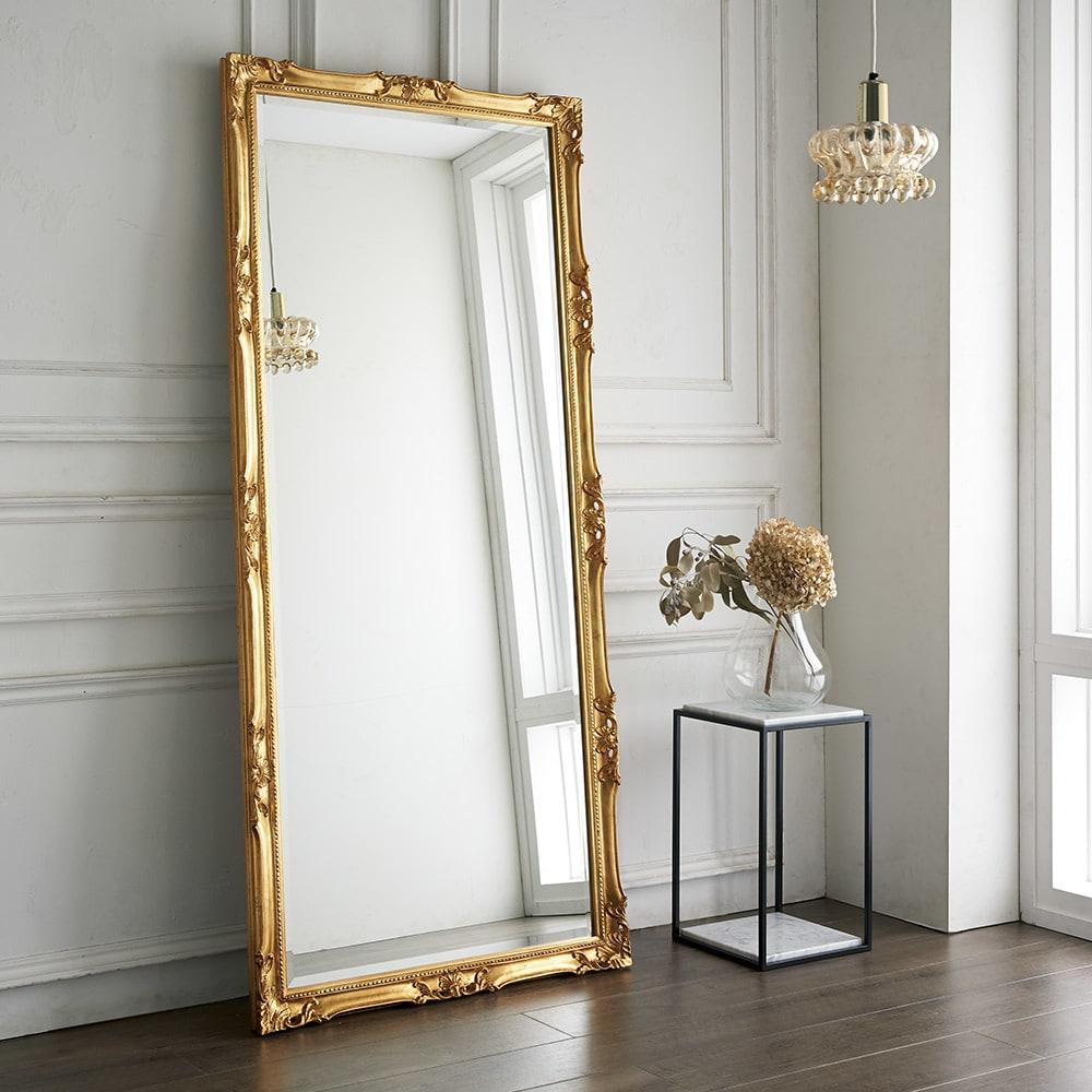 イタリア製スタンドミラー(鏡)大 幅83cm高さ181.5cm コーディネート例(ア)ゴールド
