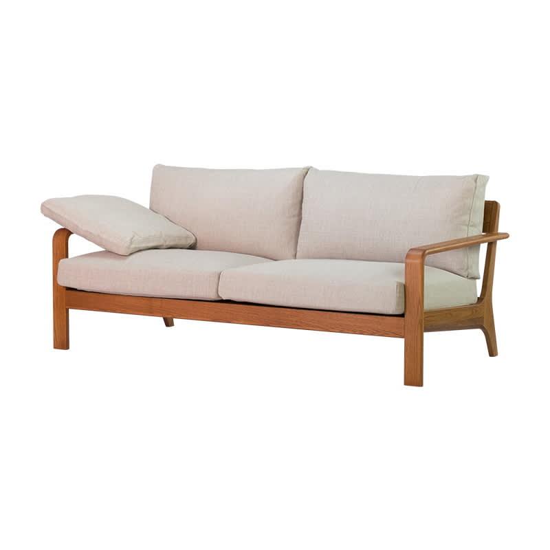 a tempo/アテンポ オーク天然木 木製フレームソファ 2.5人掛け・幅177cm コーディネート例 ※お届けはソファ2.5人掛けです。ヘッドレスト、スツールは別売りです。