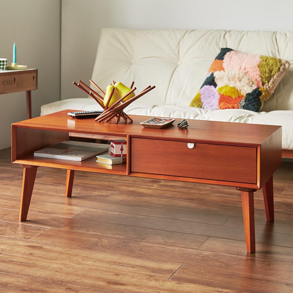 北欧ヴィンテージ風Vカットデザイン リビングテーブル・センターテーブル 幅105cm H70425