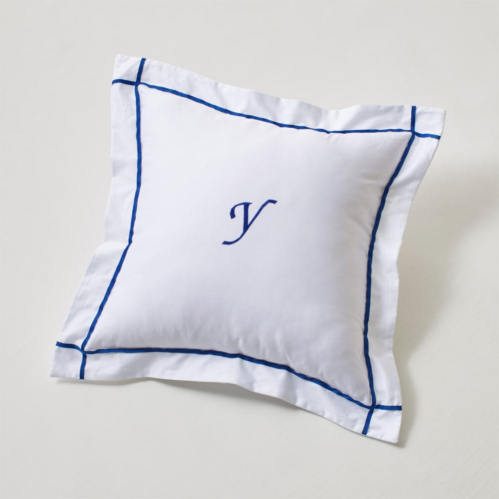 ホテル仕様超長綿サテンカバーリング Ciel シエル 刺繍クッションカバー(1枚) ブルー