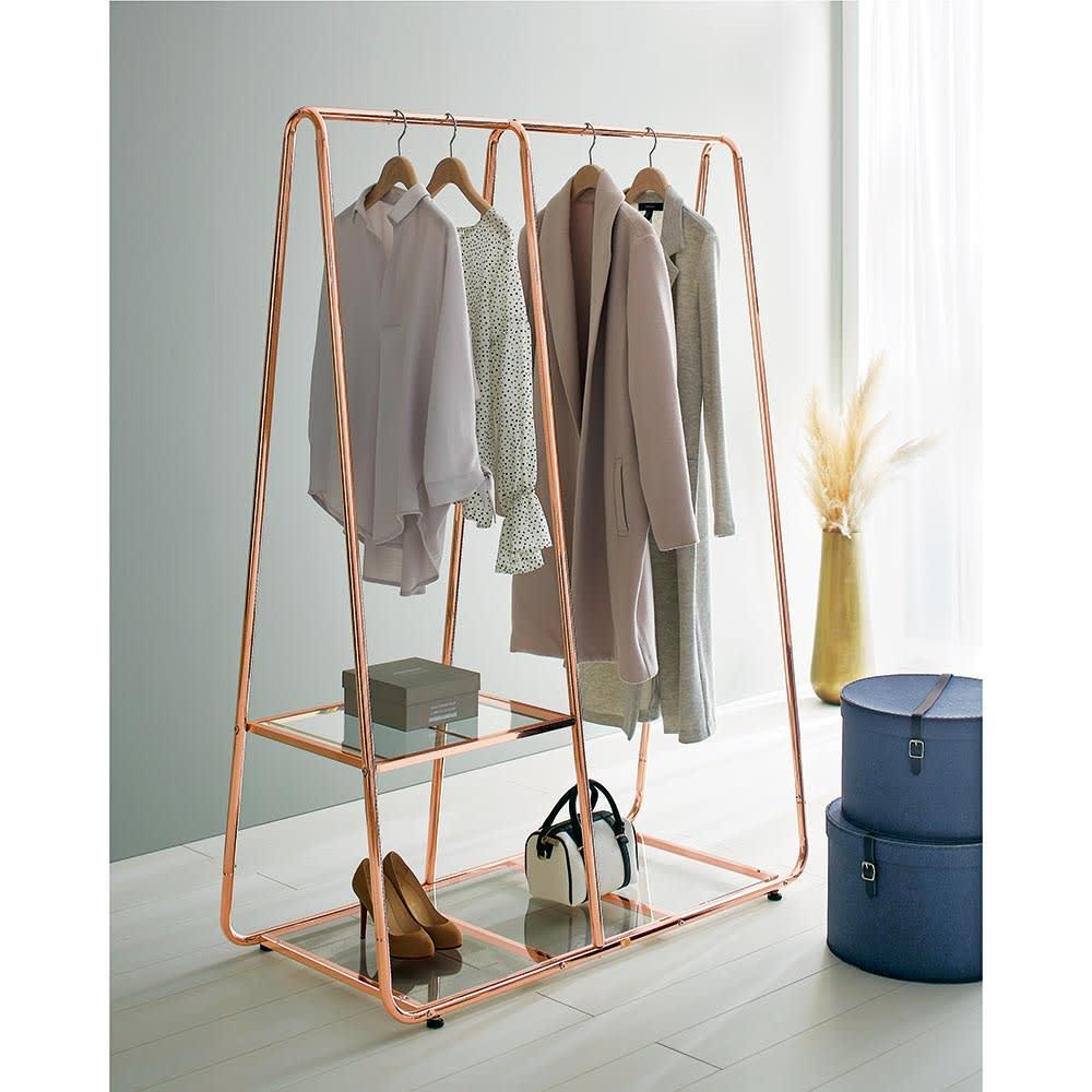 Erythe/エリュテ ピンクゴールドハンガー 幅120cm お部屋に華やかさを添える上品なカッパー系ピンクゴールドです。