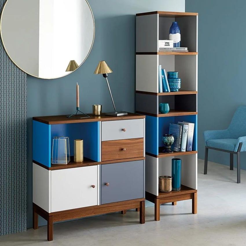 限定カラー Abbey wood/アビーウッド ブックケース HOUSE STYLING定番のシリーズを、トレンドのシックなウォルナット材にブルー&グレーでアレンジした特別仕様です。