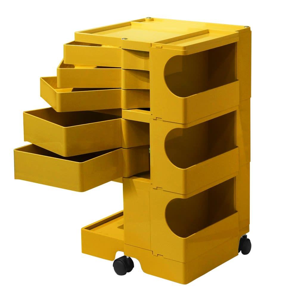 Boby Wagon/ボビーワゴン イエロー・グレータイプ[B-LINE・ビーライン/デザイン:ジョエ・コロンボ] 3段5トレイ・イエロー