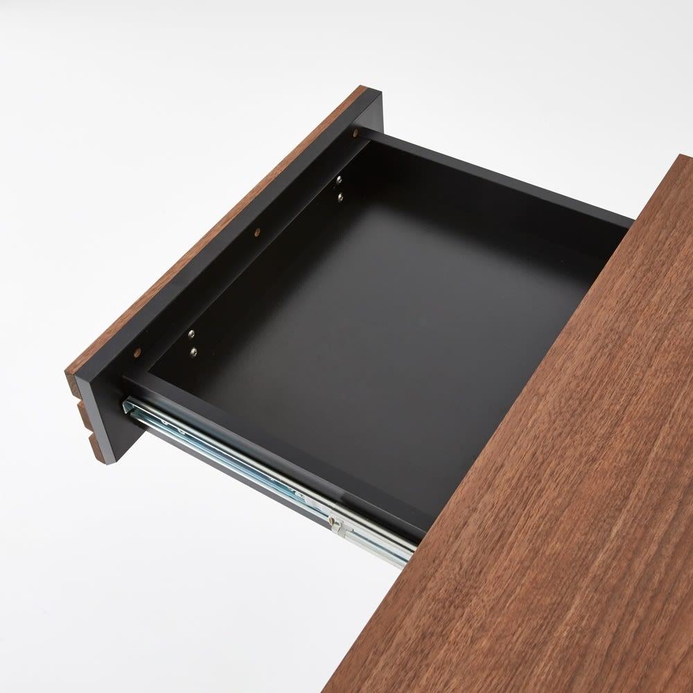 AlusStyle/アルススタイル 薄型ホームオフィス デスク 幅80.5cm 引出の内装材にも高級感漂うブラックカラーを採用しました。
