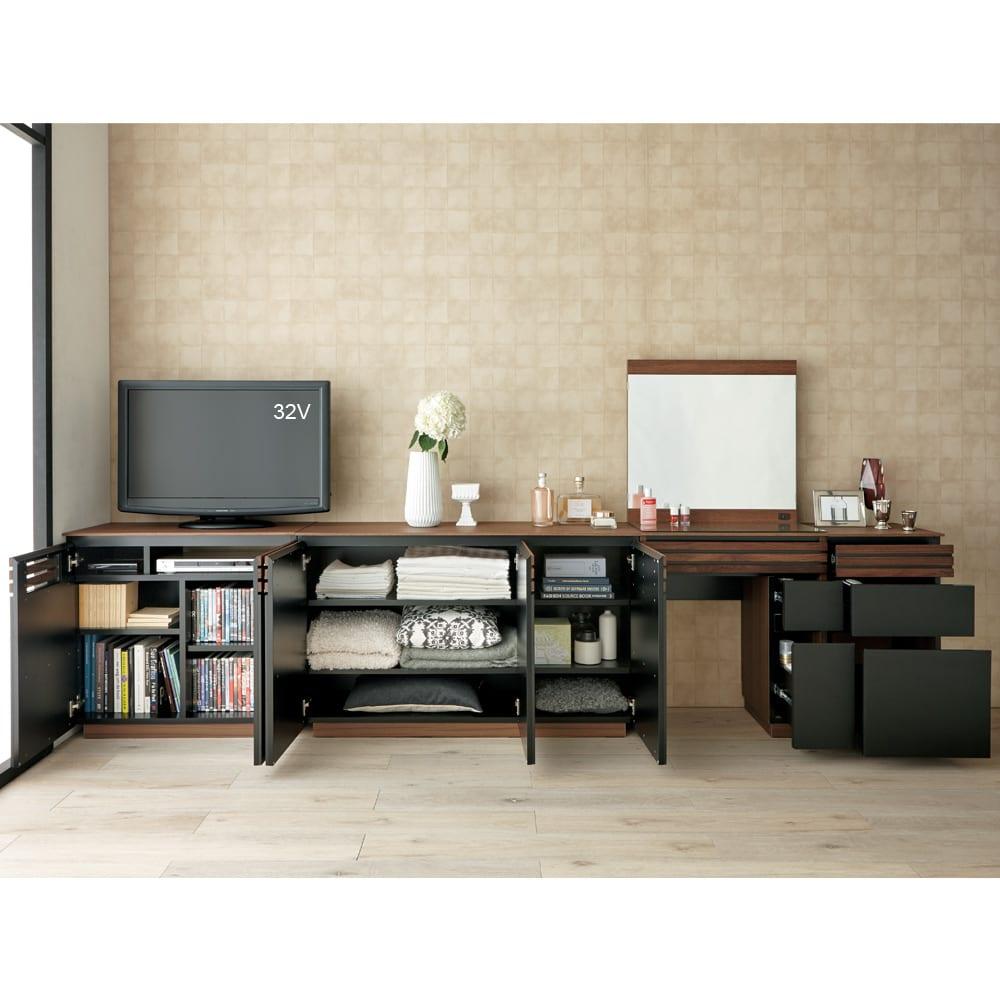 AlusStyle/アルススタイル リビングシリーズ ハイタイプテレビ台 幅80.5cm 同シリーズのキャビネットやシェルフと合わせて、たっぷり収納力のホームオフィスに。