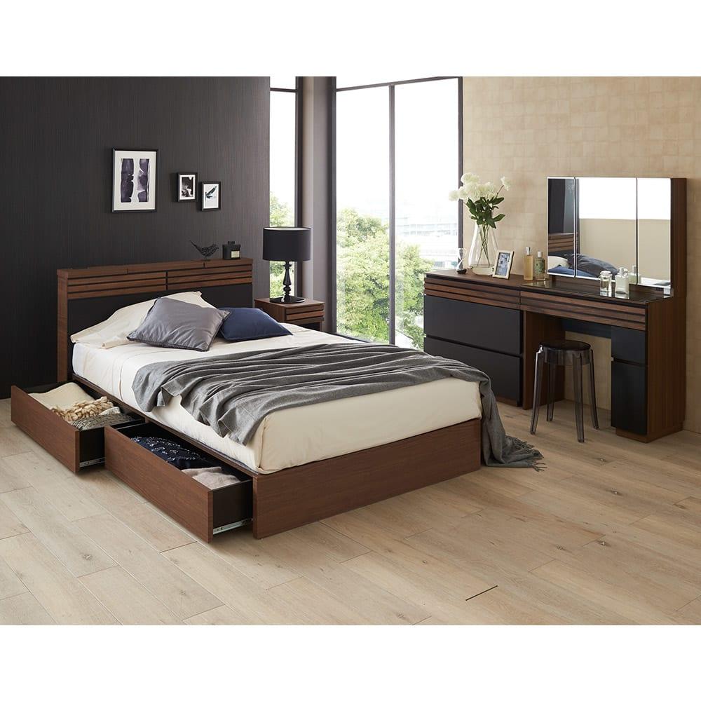 AlusStyle/アルススタイル チェストシリーズ チェスト 幅120cm高さ72cm 同シリーズのドレッサーやベッドと組み合わせて、落ち着いた寝室に。