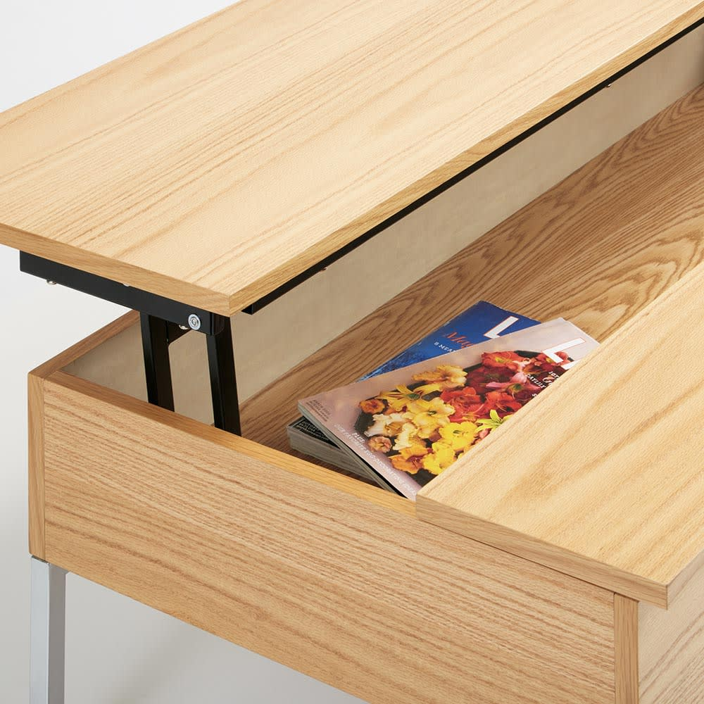 収納スペース付き リフトアップセンターテーブル 【ポイント】天板内部は収納スペースに。リビングまわりの小物を隠して収納できます。※収納部内寸サイズ:幅105cm奥行51cm高さ11cm