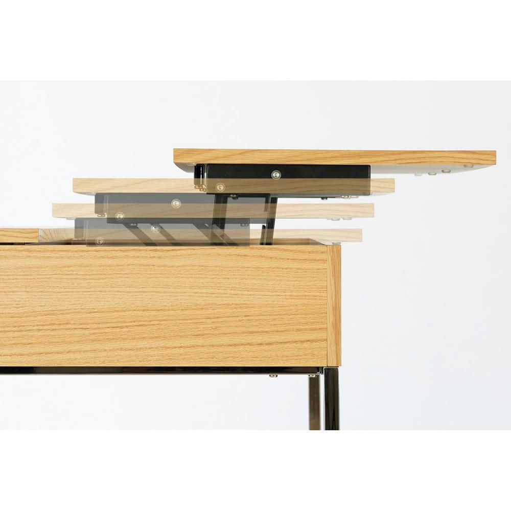 収納スペース付き リフトアップセンターテーブル 【ポイント】片側の天板のみ手前に引き出せます。※可動部に指などを挟まないようにお使いください。