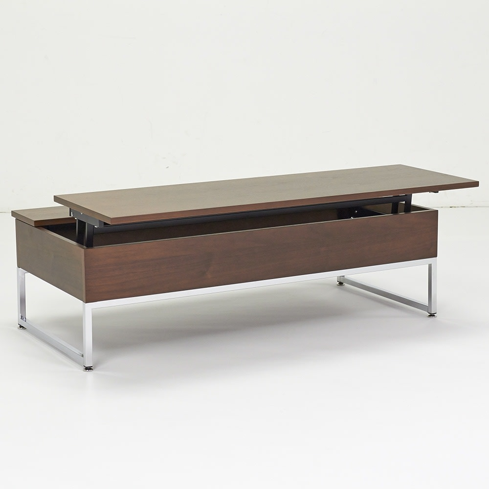 収納スペース付き リフトアップセンターテーブル ウォルナット