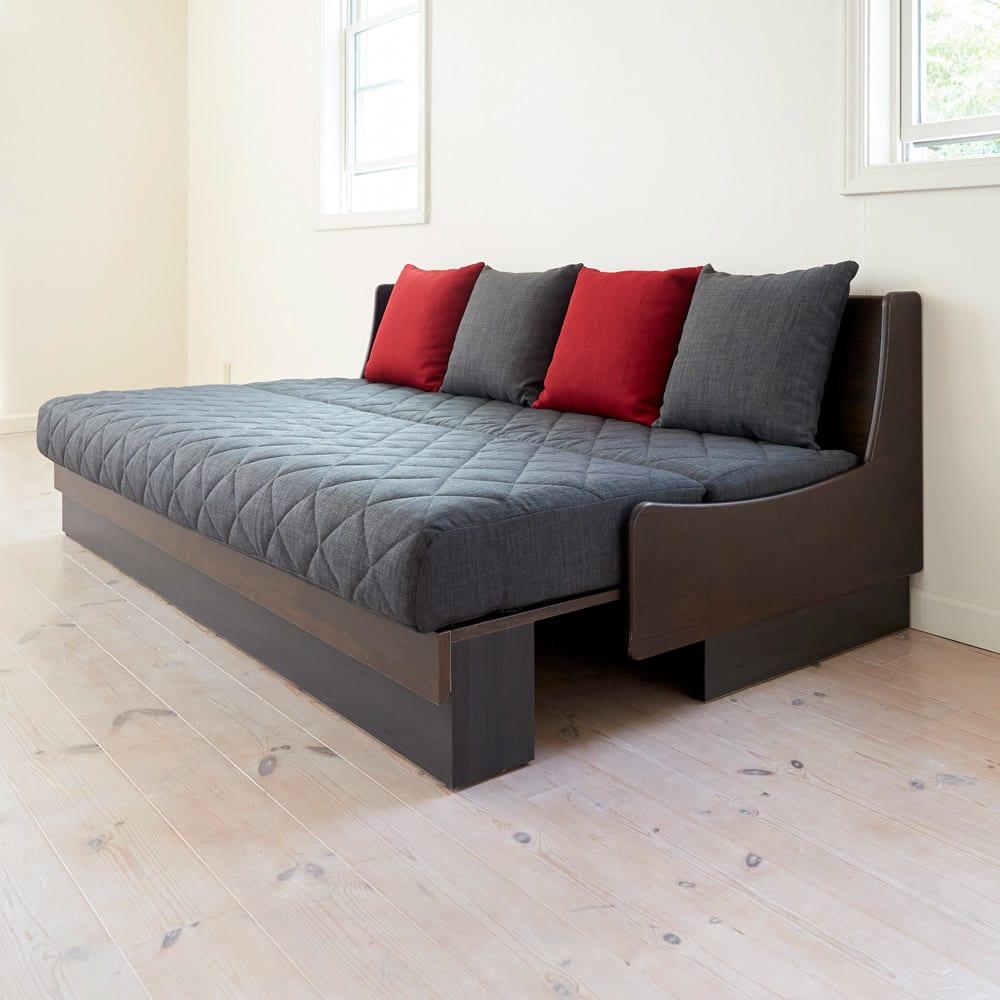 Licol/リコル ソファベッド 幅160 [国産] (エ)ブラウン×ダークグレー 写真は幅200です。