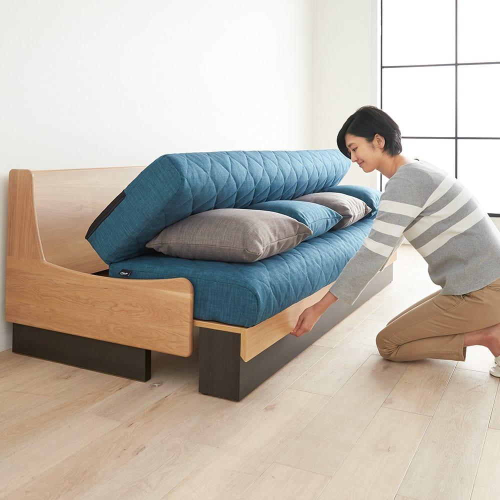 Licol/リコル ソファベッド 幅200 [国産] 座面を引き出すだけでベッドに早変わり。