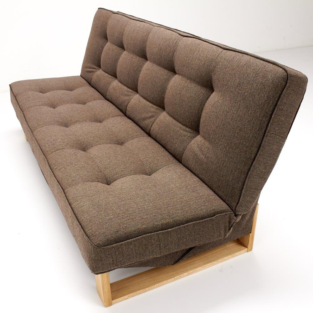 ツイード調ソファベッド ハイバック [国産] ソファと背もたれは程よくクッションを感じられるように仕上げています。