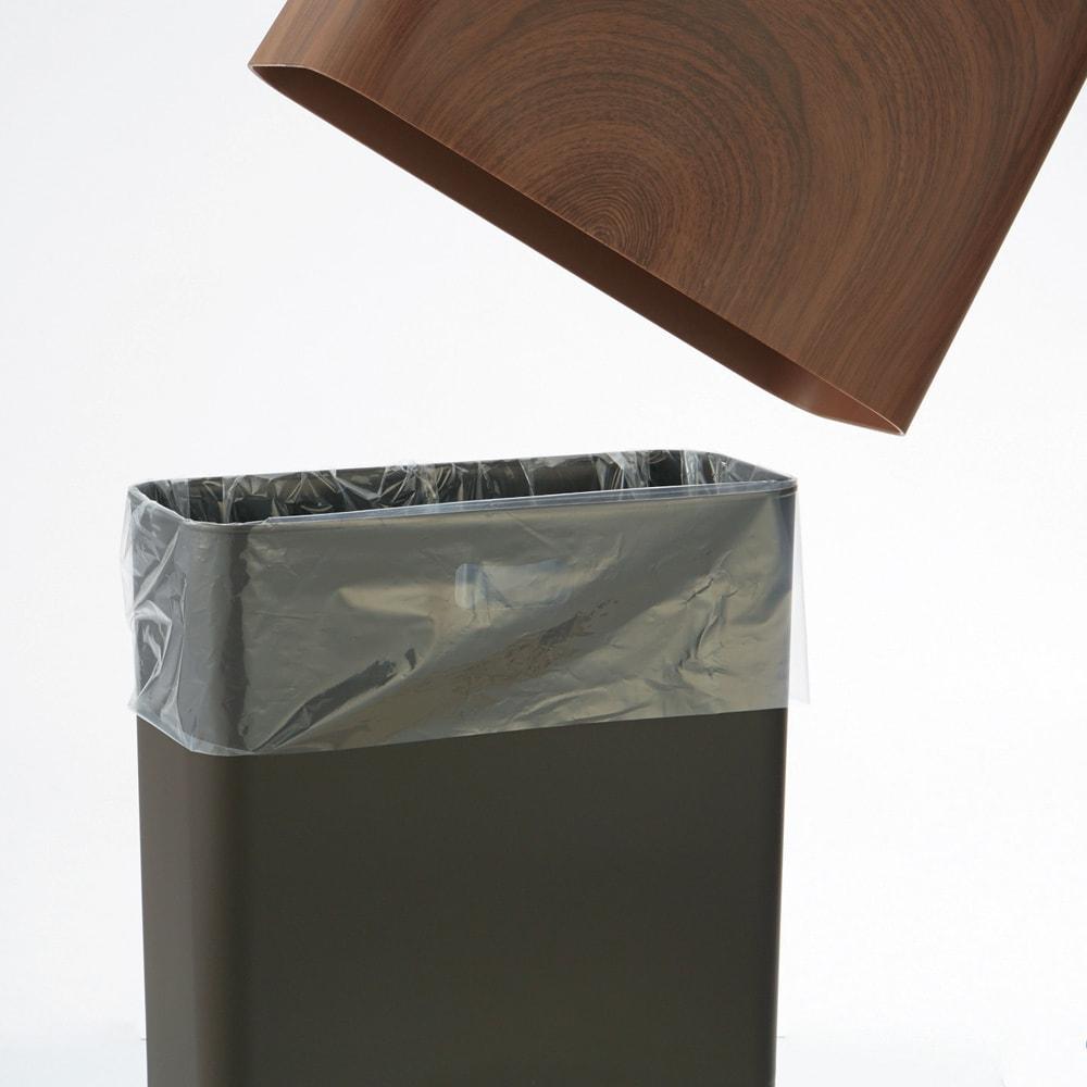 ideaco/イデアコ チューブラー ダストボックス ハイグランデ(ウッド調) カバーでゴミ袋を隠して見た目もクリーン。