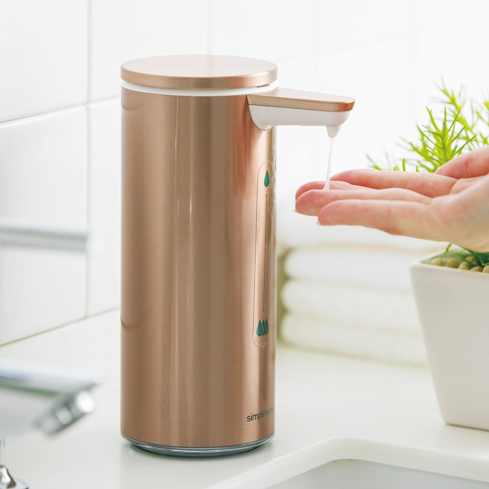 simplehuman シンプルヒューマン センサーソープディスペンサー (イ)ローズゴールド 赤外線センサーが手やスポンジを感知し、自動でソープが出るタッチフリー方式。