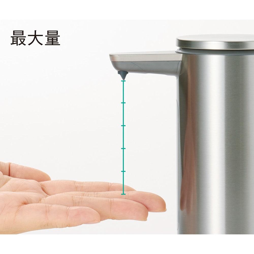 simplehuman シンプルヒューマン センサーソープディスペンサー ノズルに手が近いとソープ量が少なく、離れるほど増量。設定不要で必要に応じてソープの出る量を調整できるので、使いすぎや無駄を防げます。液だれしにくい設計もうれしい。