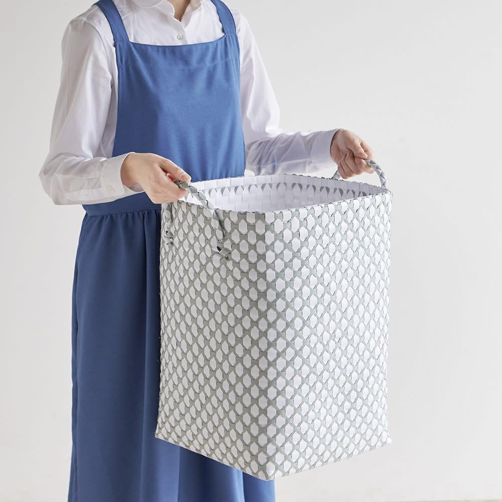ハンドメイドPPバスケット/ランドリーバスケット  L 家族4人分の洗濯物もOKの大容量タイプ。高さがあるのでたっぷり入れても省スペースです。