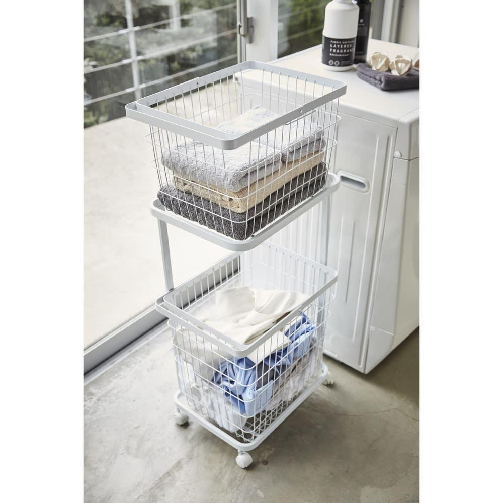 tower/タワー ランドリーワゴン バスケット2個タイプ 毎日のお洗濯をサポートします。