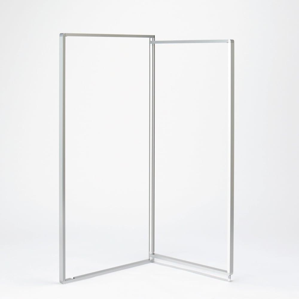 アルミ製 薄型ランドリースタンド 2連 (室内 屏風型物干し) 幅は1面60cm。コの字に設置すれば狭い浴室内でも置くことができます。
