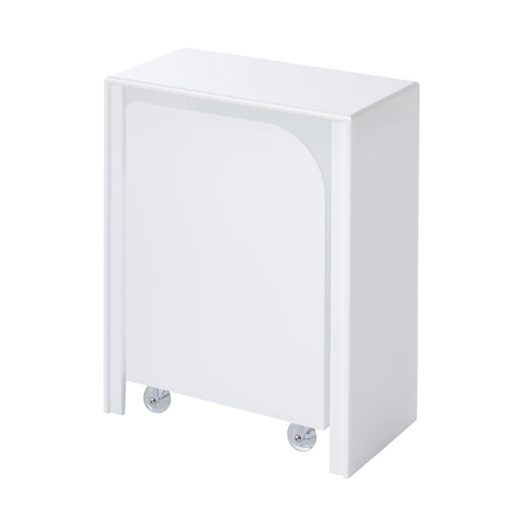 Nunnally/ナナリー アクリル パウダールームベンチ&ランドリーワゴン お得なセット ホワイト 真っ白で光沢があり清潔感たっぷり。ワゴンをベンチ下にセットした状態