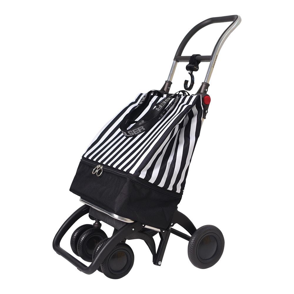 ROLSER/ロルサー ショッピングカート 4輪カート+保冷・保温付きバッグ (ウ)ストライプ