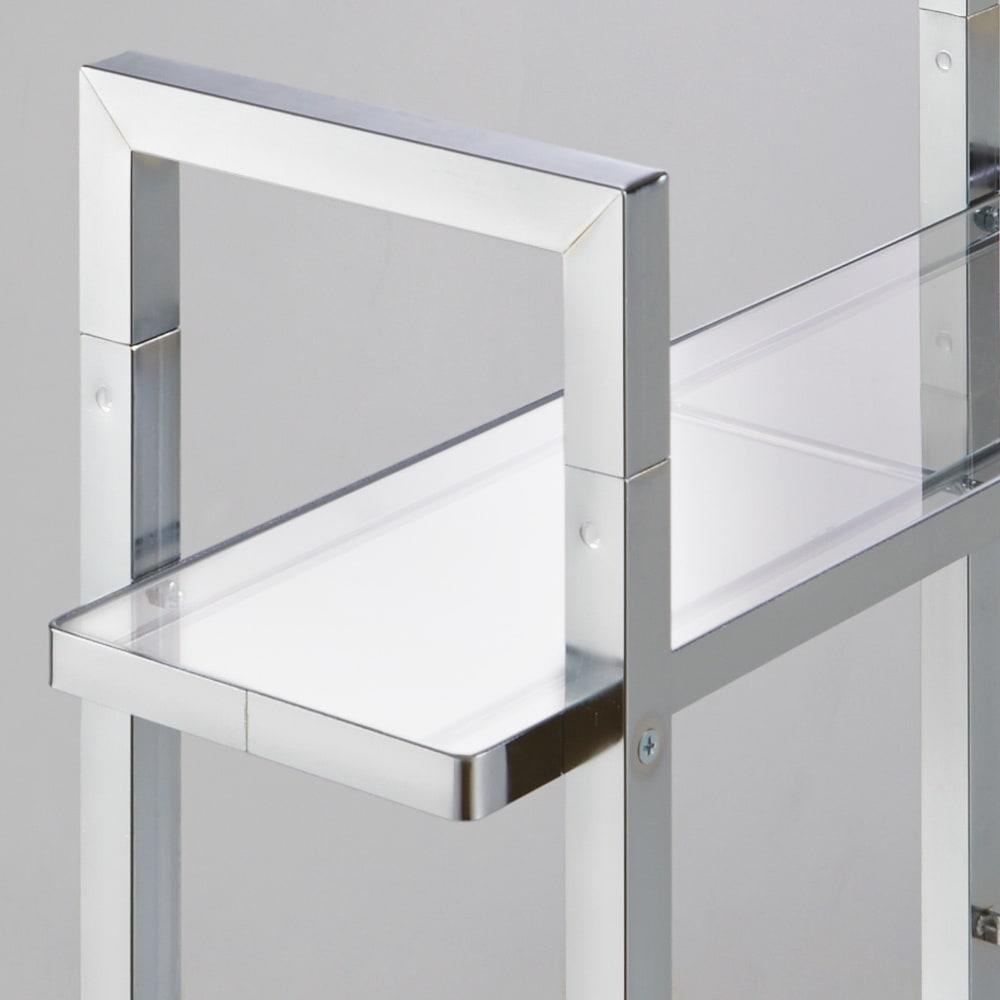 フック可動式サイクルスタンド アクリル棚付き 2台用 小物が置ける棚は圧迫感のないアクリル製。