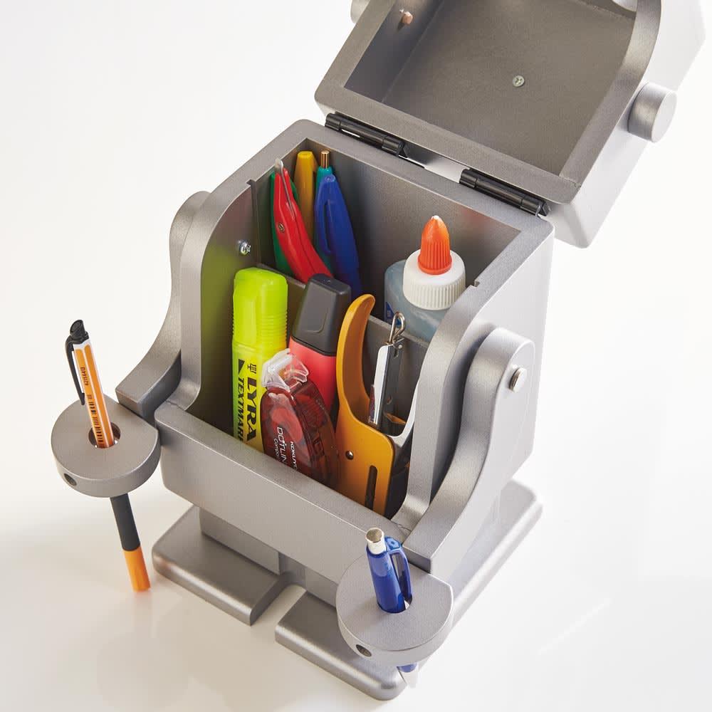 Pico/ピコ 卓上収納ロボ[ete・えて ] シルバー 文具や小物の収納に。脚にも小引き出しが。