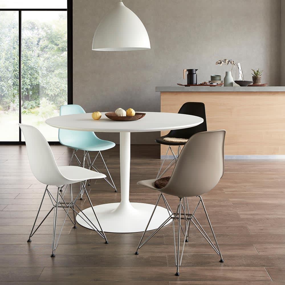 イームズシェルチェアDSR(イームズプラスチック シェルサイドチェア ワイヤーベース)[ハーマン・ミラー正規品] 1950年代を代表する名作チェア。時代を経ても古さを感じさせないデザインは、現代的な建具のダイニングルームにも違和感なく調和します。