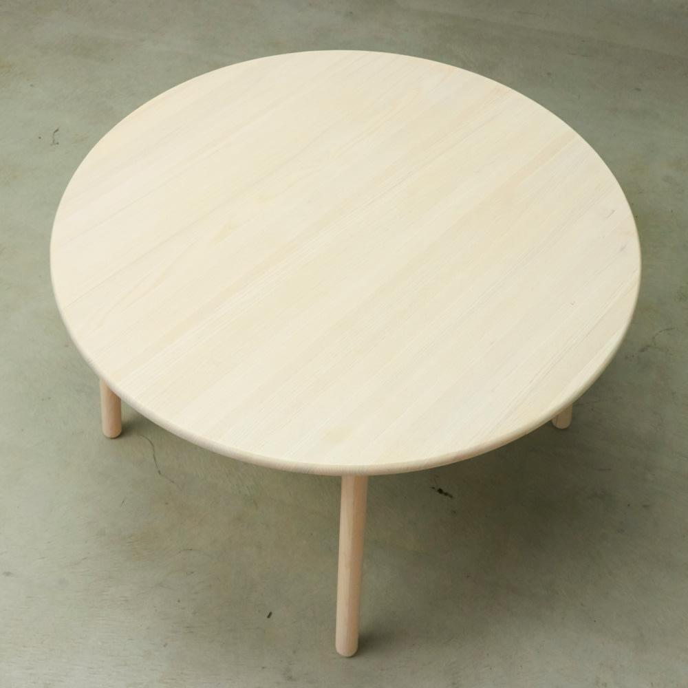 Ridge/リッジ ダイニングテーブル 天然木丸テーブル 直径110cm 天板は正円で、人数が増えてもスツールを追加すれば大人数で集まれます。