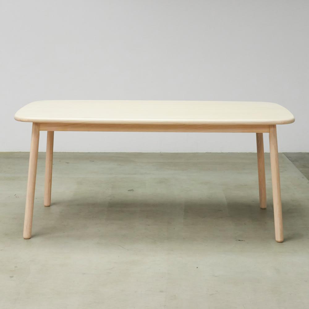 Ridge/リッジ ダイニングテーブル 天然木長方形テーブル 幅160cm×75cm シンプルな形ながら、脚から天板まで角がないやさしい形がリラックス空間にぴったり。