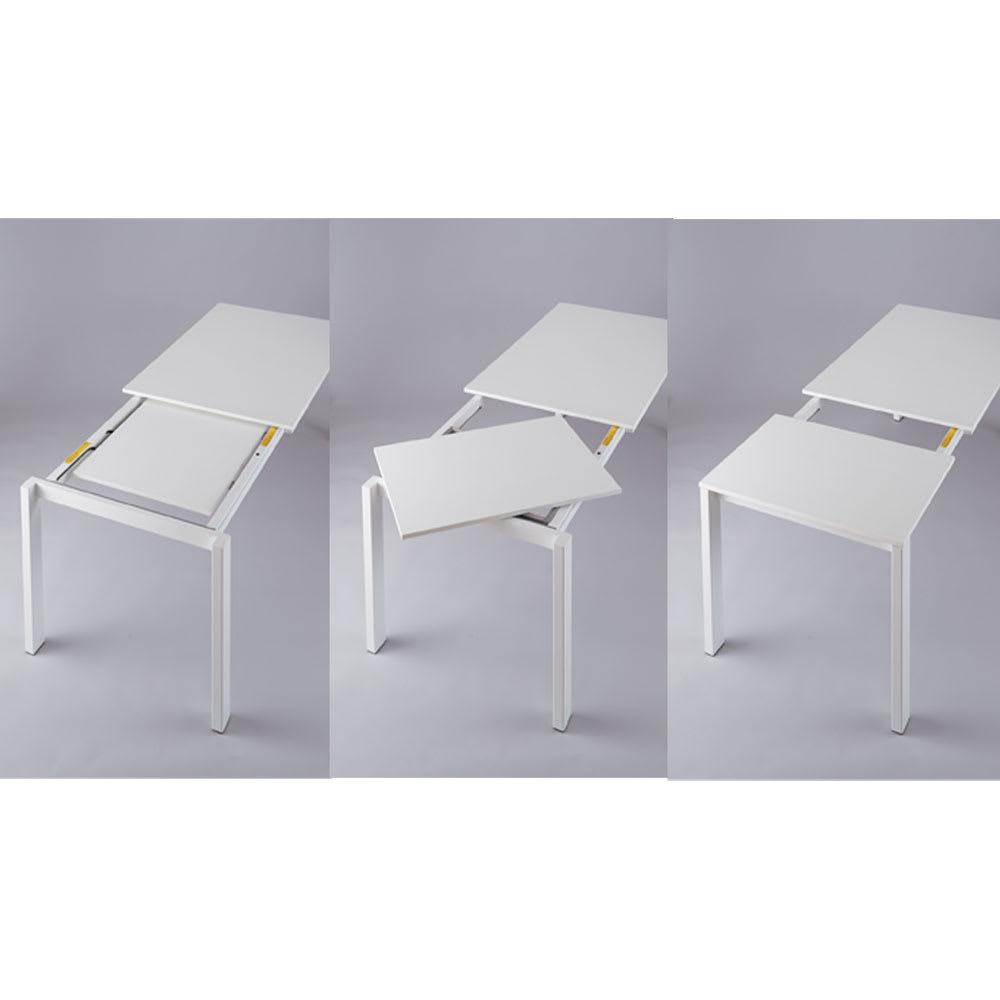 伸長式テーブル 幅130cm伸長時190cm イタリア製伸長式ダイニングシリーズ[Connubia by Calligaris カリガリス] [伸長方法]脚部分をスライドさせ、天板下に隠れているエクステンション用の天板を回転させて天板を合わせるだけで伸長できます。伸長側の脚に隠しキャスター付きで操作も簡単です。