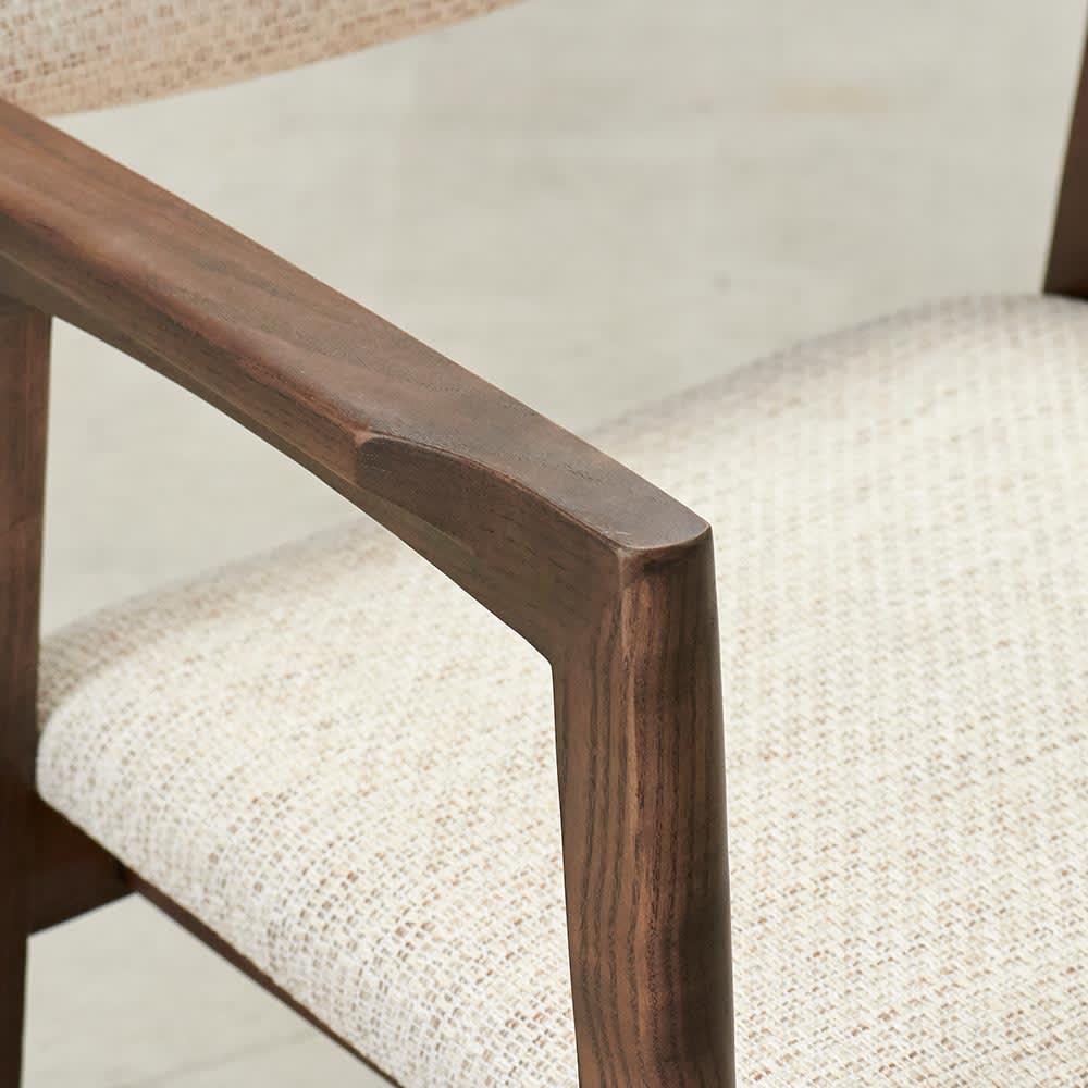 Grigia/グリージア 収納庫付き ダイニングシリーズ 幅170 肘部分アップ テーブルと色を合わせています。
