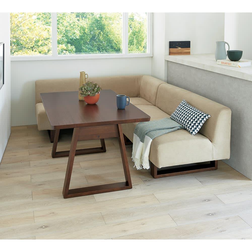 BIS/ビス リビングダイニングテーブル 幅119cm  コーディネート例 (ア)カーキ 左アームセット コンパクトなテーブル119cmタイプ