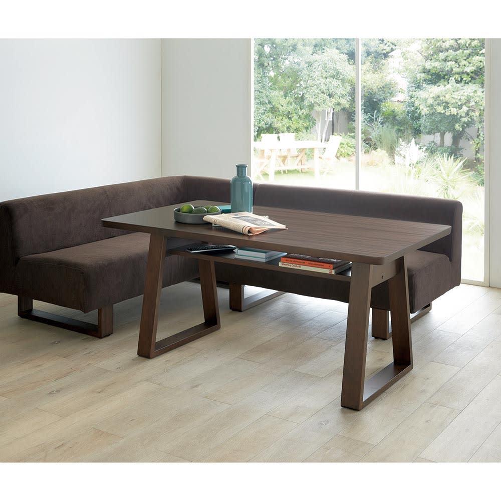 BIS/ビス リビングダイニングテーブル 幅140cm (ウ)ブラウン テーブル140cmセット ロータイプのテレビボードと合わせればロースタイルのリビングダイニングに。
