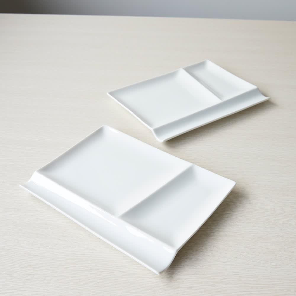 お箸が置けるパレット皿 幅24cm 4枚組 ホワイト