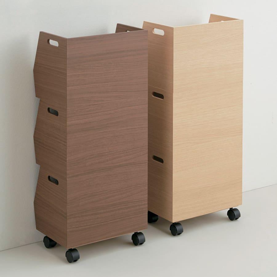 収納スタッキングボックス 3段 引き出し2杯付き 左から(イ)ブラウン、(ア)ナチュラル 後ろもきれいな仕上げで、目隠しとしても。