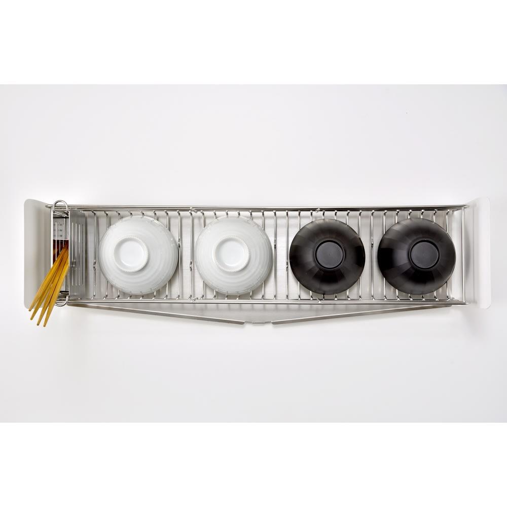 UTAU/ウタウ 皿が縦にも横にも置ける水切り ロング お椀がぴったり収まるサイズ。