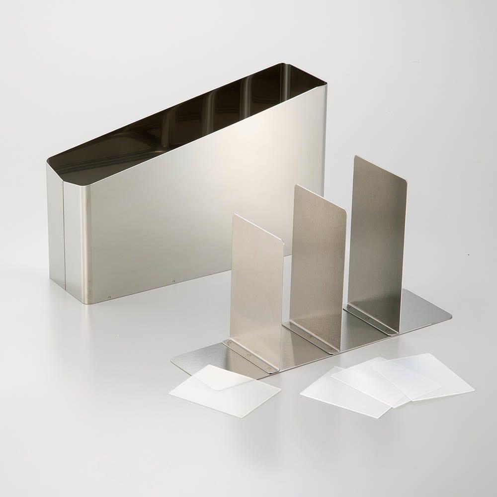 ステンレス製キッチンツールスタンド幅24cm 底と本体は分解して、丸洗い可能。内底に敷いたシリコンシートで、ガチャガチャ音も軽減。