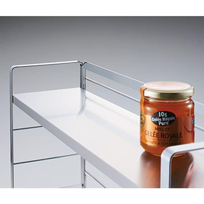 ステンレス棚スパイスラック ポット無し 安定感のある丈夫な作り。1段の耐荷重は約6kg。