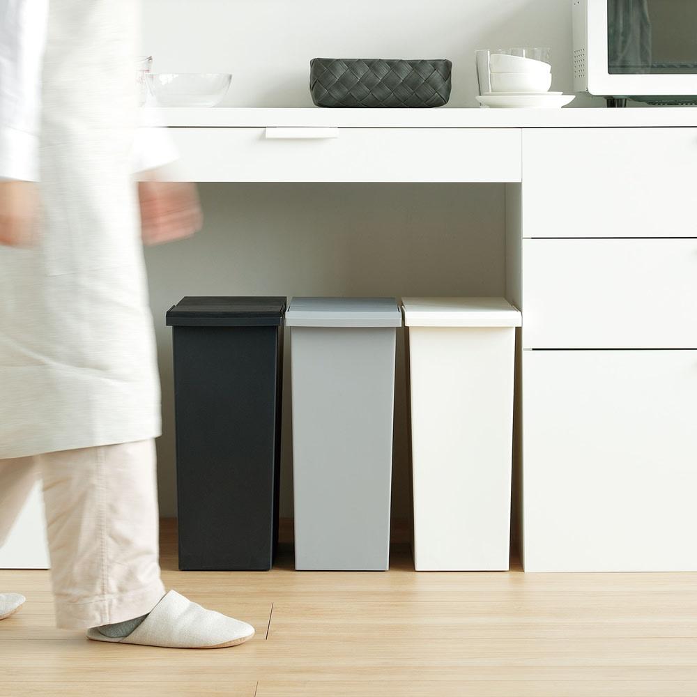 TOSTE/トステ カウンター下ダストボックス 3個組 すっきりとしたシンプルなデザインで、キッチンがスタイリッシュに