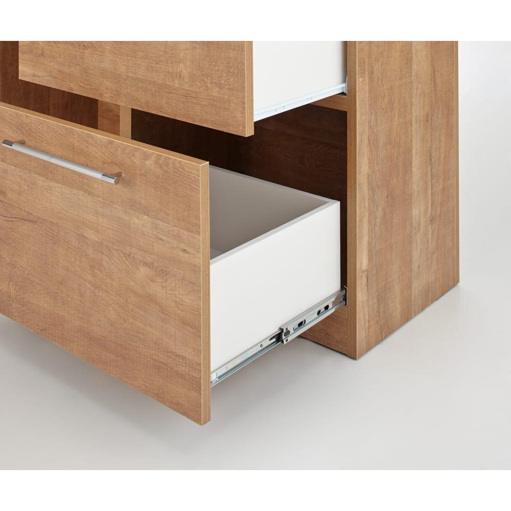 Cretty/クレッティ ステンレス天板 ナチュラルモダンキッチン収納 間仕切りカウンター 収納付き 奥行33cmの引き出しにはキッチン用品をたっぷりと収納できます。