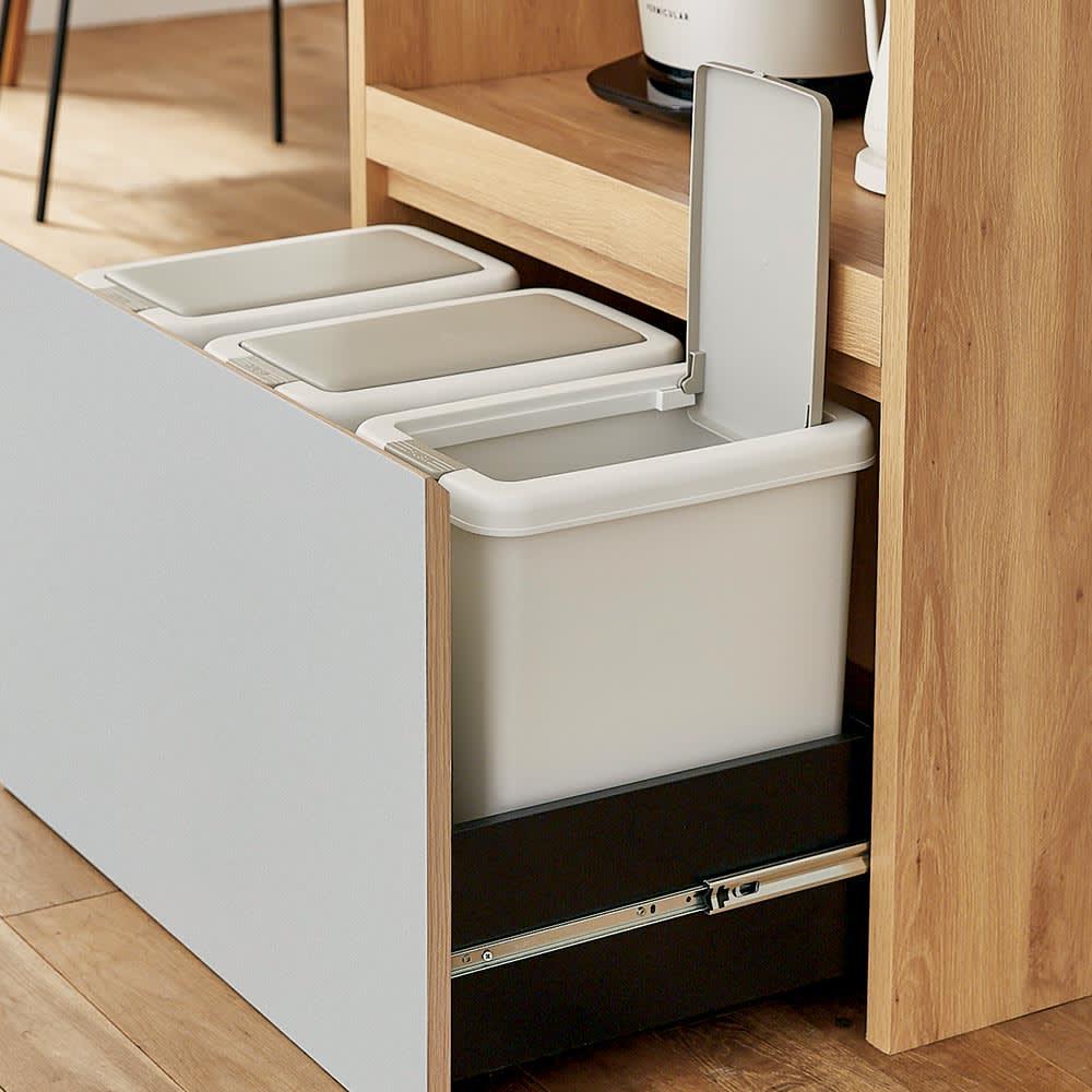 Matiz/マティース ゴミ箱がしまえるグレー家電収納 幅86cm (ごみばこ3列用※ごみ箱は別売り) 別売りのゴミ箱が3つすっきり収まります。