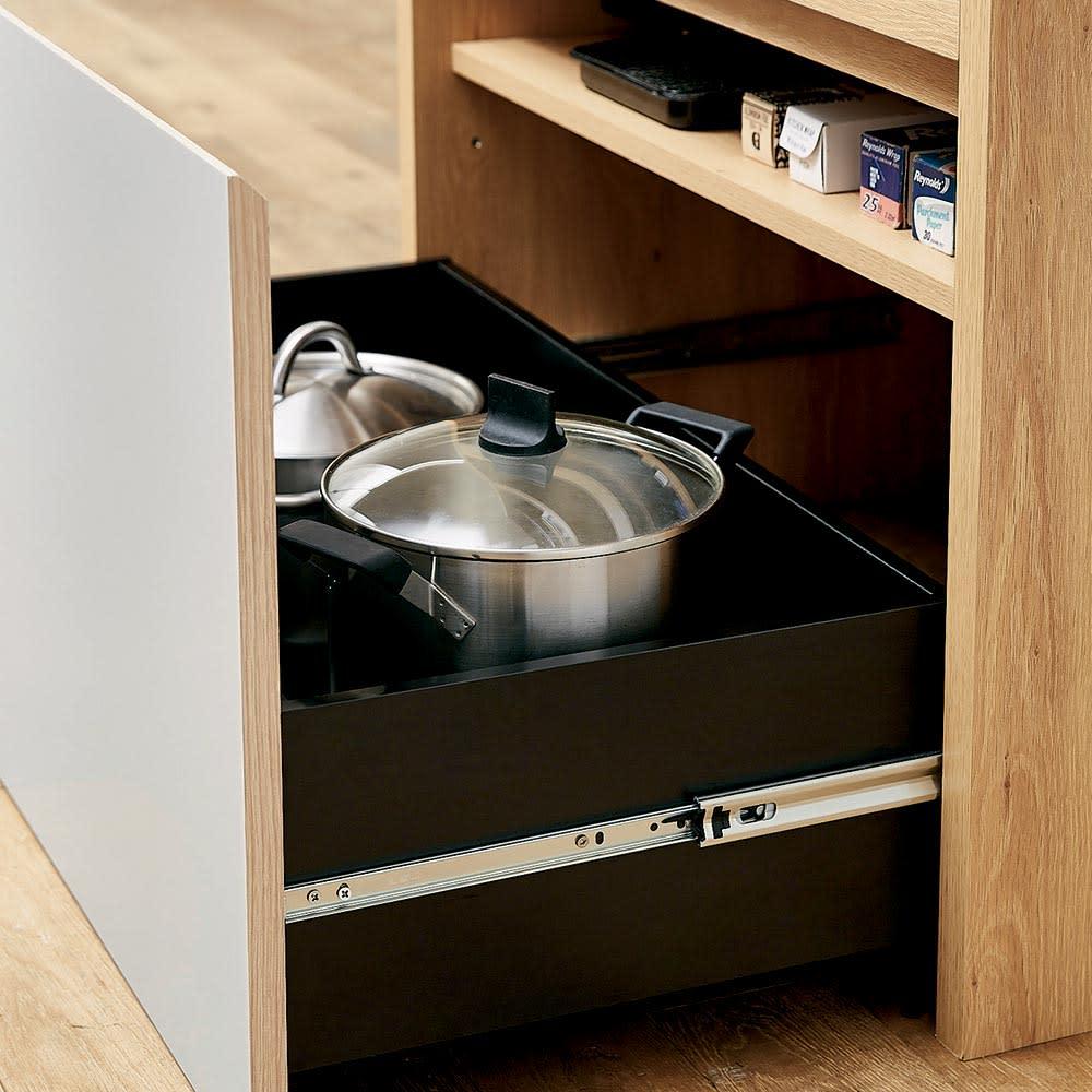 Matiz/マティース ゴミ箱がしまえるグレー家電収納 幅86cm (ごみばこ3列用※ごみ箱は別売り) 最下段は鍋などの収納にも。棚板を取り付ければ効率収納も可能。