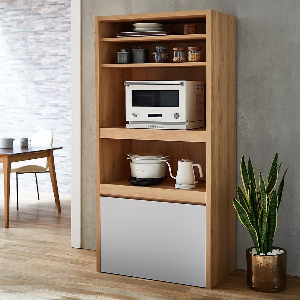 Matiz/マティース ゴミ箱がしまえるグレー家電収納 幅86cm (ごみばこ3列用※ごみ箱は別売り) 家電収納庫とゴミ箱を別々に置くスペースがない手狭な台所にもおすすめ。