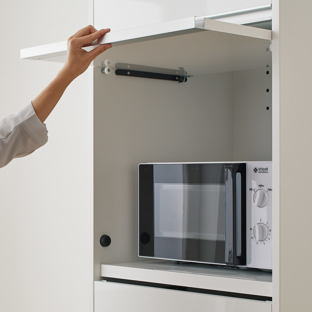 Ymir/ユミル 隠せる家電収納 幅30奥行55cm 扉はフラップ式で軽く開閉できます。開けたままをキープOK。