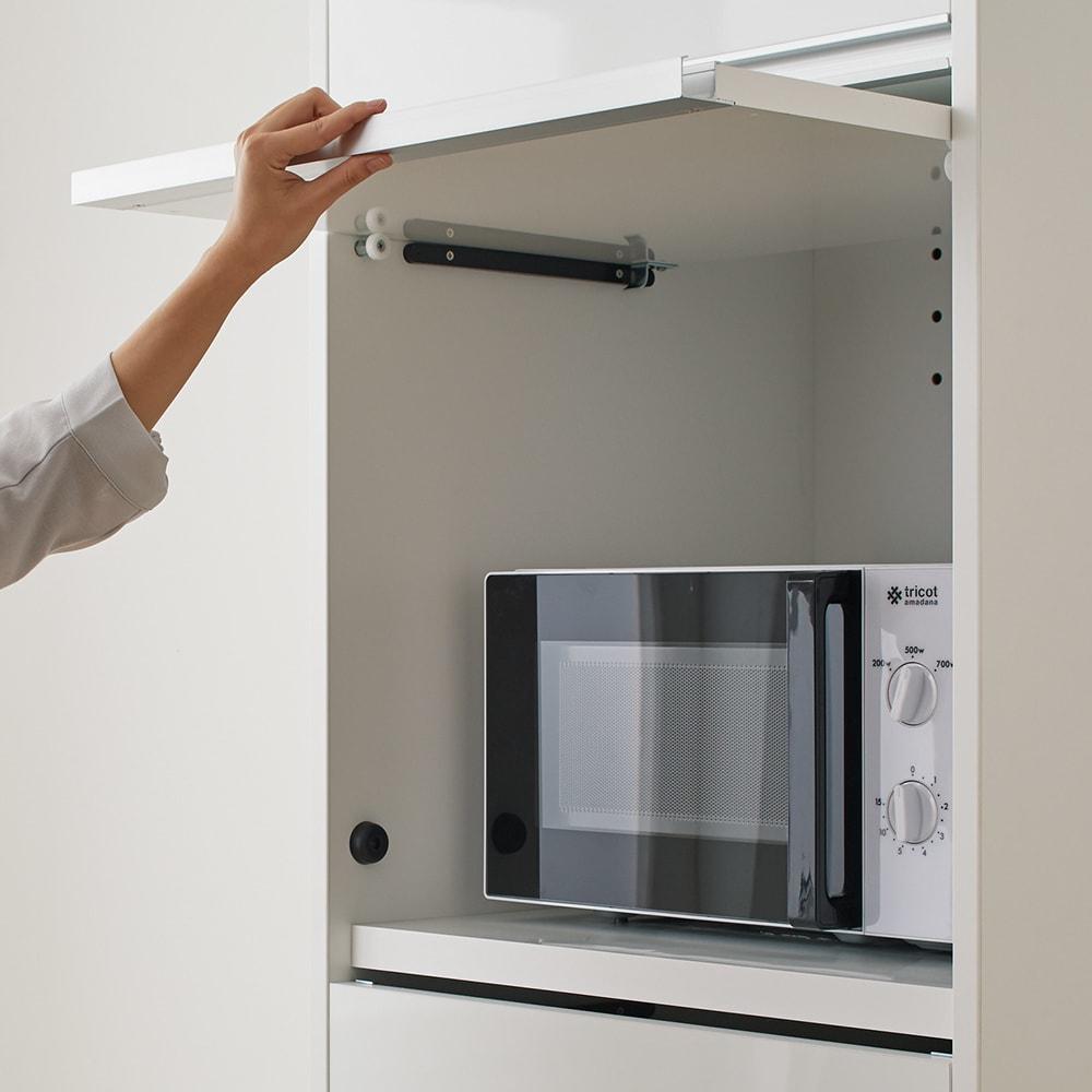 Ymir/ユミル 隠せる家電収納 幅60奥行55cm 扉はフラップ式で軽く開閉できます。開けたままをキープOK。