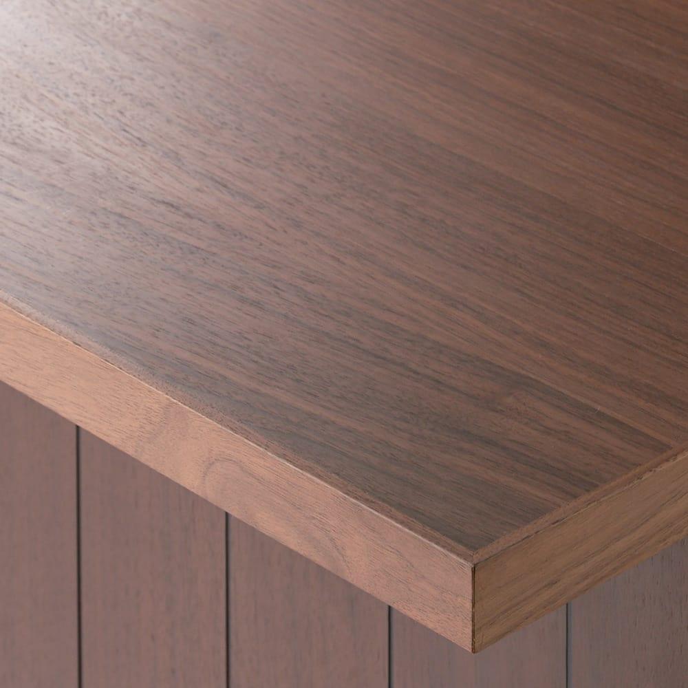 VineII/ヴィネ2 アイランドカウンターウォルナットタイプ ウォルナット天板 幅90cm オーク・ウォルナット天板(ウレタン塗装) 天然木突き板天板は、明るくナチュラルなオークとモダンなウォルナットの2色をご用意。