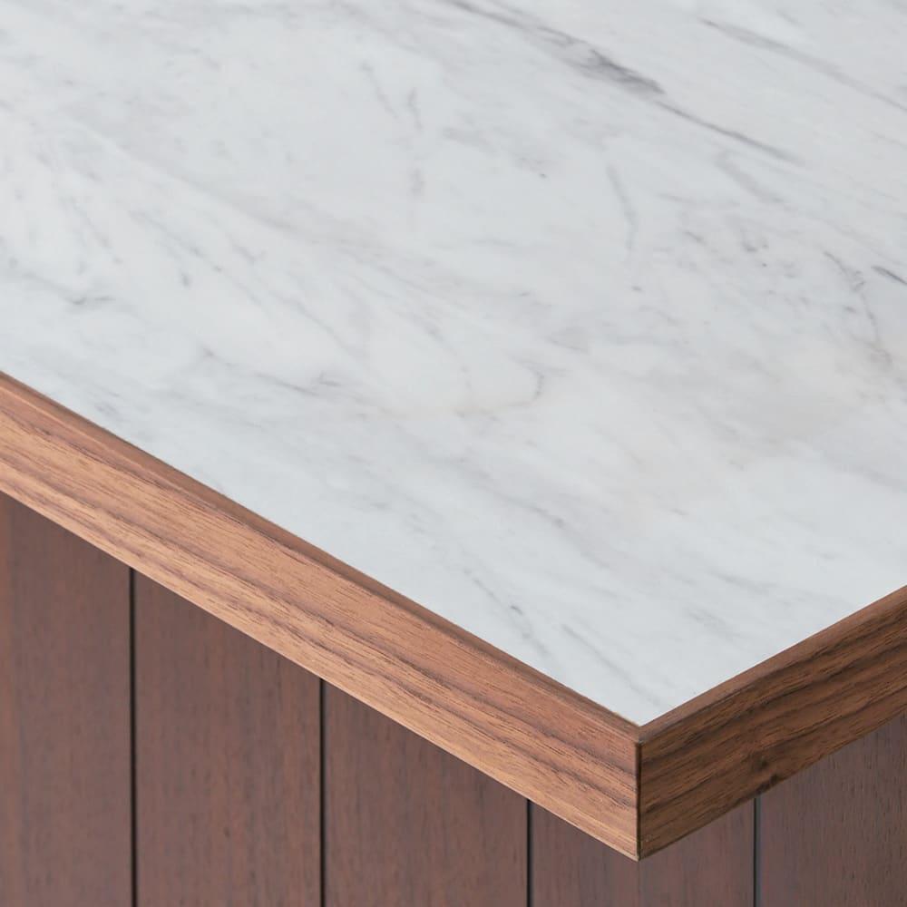 VineII/ヴィネ2 アイランドカウンターウォルナットタイプ 大理石調天板 幅90cm 大理石調天板 美しい大理石調メラミン天板は、熱や水、摩耗に強く、キッチンユースにぴったり。