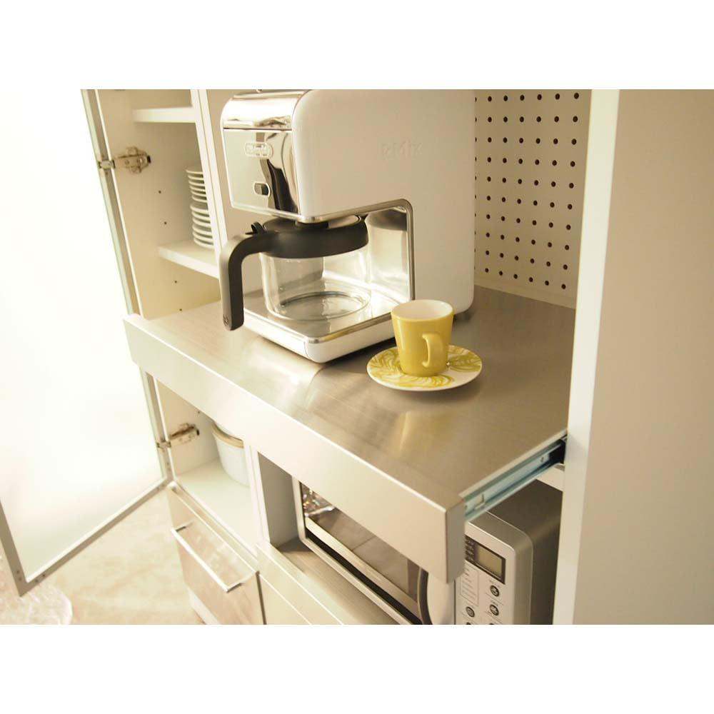 SmartII スマート2 ステンレスシリーズキッチン収納 ステンレスレンジボード 幅60cm 炊飯器やポットなどの蒸気を逃がせる便利なスライドテーブル付き